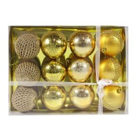 Globuri Craciun, aurii, D 8 cm, set 12 bucati, SYQ19S-006