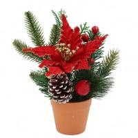 Decoratiune Craciun, tip ghiveci, verde + rosu, 20 cm, SYHHB-031964