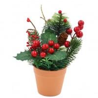 Decoratiune Craciun, tip ghiveci, verde + rosu, 20 cm, SYHHB-031966