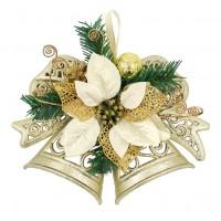 Decoratiune Craciun, tip clopotel, cu floare aurie, 28 cm, SYHHB-031990