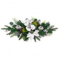 Decoratiune Craciun, suport lumanare, argintiu + verde, 55 x 30 x 12 cm, SYHHB-0319103