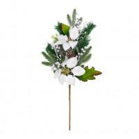 Decoratiune Craciun, tip ramura, argintiu + verde, 60 cm, SYHHB-0319104