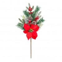 Decoratiune Craciun, tip ramura, rosu + verde, 60 cm, SYHHB-0319106