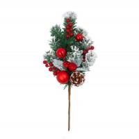 Decoratiune Craciun, tip ramura, rosu + alb + verde, 45 cm, SYHHB-0319110