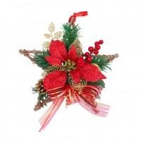Decoratiune Craciun, tip stea, rosu + auriu, 30 cm, SYHHB-0319111