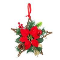 Decoratiune Craciun, tip stea, rosu + verde, 30 cm, SYHHB-0319113