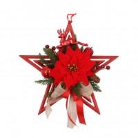 Decoratiune Craciun, tip stea, rosie, 30 cm, SYHHB-0319115