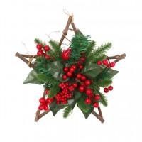 Decoratiune Craciun, tip stea, rosu + verde, D 30 cm, SYHHB-0319117