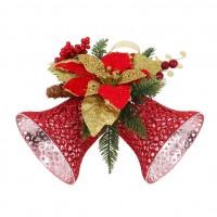 Decoratiune Craciun, tip clopotel, cu floare rosie + aurie, SYHHB-0319157