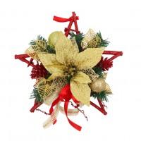 Decoratiune Craciun, tip stea, auriu + rosu, 30 cm, SYHHB-0319162