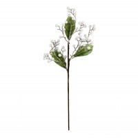 Decoratiune Craciun, tip ramura, alb + verde, 60 cm, SYHHC-031930