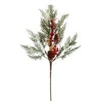 Decoratiune Craciun, tip ramura, verde + rosu, 80 cm, SYHHC-031931