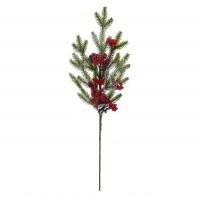 Decoratiune Craciun, tip ramura, rosu + verde, 70 cm, SYHHC-031952