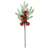 Decoratiune Craciun, tip ramura, rosu + verde, 50 cm, SYHHC-0319125