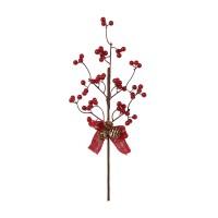 Decoratiune Craciun, tip ramura, maro + rosu, 40 cm, SYHHC-0319162