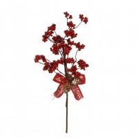 Decoratiune Craciun, tip ramura, maro + rosu, 40 cm, SYHHC-0319164