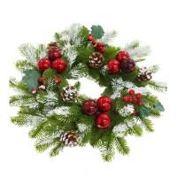 Coronita Craciun, verde + rosu , D 40 cm, SYHHC-0319175
