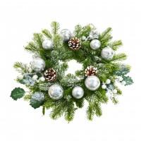 Coronita Craciun, verde + argintiu , D 40 cm, SYHHC-0319182
