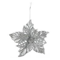 Decoratiune Craciun, tip floare, argintie, 14 cm, SYYKLA-192003
