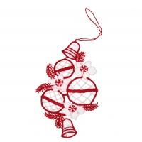 Decoratiune Craciun, rosu + alb, 10.5 x 18 cm, SYMZ-231904
