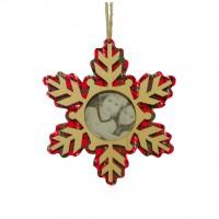 Decoratiune Craciun, tip fulg, rosu + alb, D 15.6 cm, SYMZ-231966