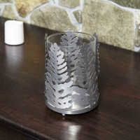 Decoratiune Craciun, suport lumanare, argintiu, 10 x 10 x 14 cm, SYLZB-251952