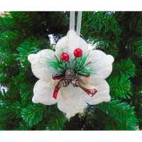 Decoratiune Craciun, alb, D 17.5 cm, SYXHP-2819106