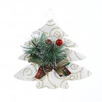 Decoratiune Craciun, tip bradut, alb + verde, 13 x 15 cm, SYXHP-2819158