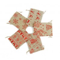 Saculet Craciun, rosu + maro, 20 x 15 cm, SYLPDB-441973