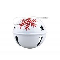 Decoratiune Craciun, tip clopotel, alb + rosu, 8 cm, SYTLD-231905