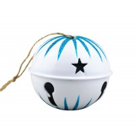 Decoratiune Craciun, tip clopotel, alb + albastru, 8 cm, SYTLD-231916