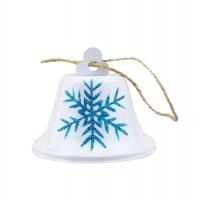 Decoratiune Craciun, tip clopotel, alb + albastru, D 8 cm, SYTLD-231921
