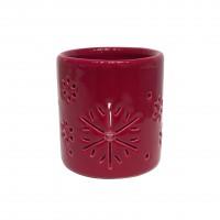 Decoratiune Craciun, suport lumanare, rosu, 6 x 6 x 6 cm, SYCT-5919161A