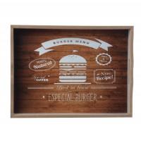 Tava dreptunghiulara pentru servire, din MDF, JXP012BL, 40 x 30 x 5.5 cm
