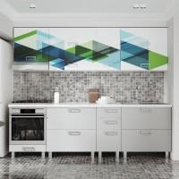 Bucatarie Cataleya, print + gri deschis, 260 cm, 14C