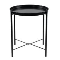 Masuta cafea din metal ST28334F-A3B, rotunda, pliabila, neagra, 43.5 x 43.5 x 52.5 cm