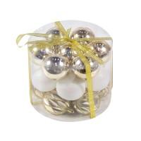 Globuri Craciun,  auriu + alb, D 6 cm, set 21 bucati, SD18-6-G1