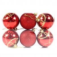 Globuri Craciun, rosii, D 6 cm, set 6 bucati, SD18-6-L4