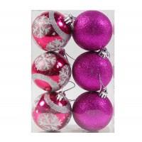 Globuri Craciun, roz, D 6 cm, set 6 bucati, SD18-6-L6