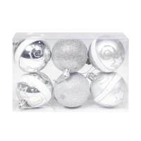 Globuri Craciun, argintii, D 6 cm, set 6 bucati, SD18-6-R3