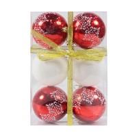 Globuri Craciun, rosu + alb, D 8 cm, set 6 bucati, SD18-8-1N4