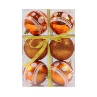 Globuri Craciun, portocalii, D 8 cm, set 6 bucati, SD18-8-F04