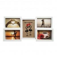Rama foto, asimetrica, B056-1, alba, plastic, colaj, 47 x 23 x 2.5 cm