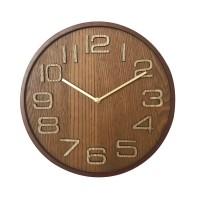 Ceas perete 19KL0437, analog, rotund, din lemn, diametru 31.5 cm