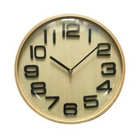 Ceas perete 19KL0475, analog, rotund, din lemn, diametru 31.5 cm