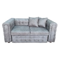 Canapea fixa 2 locuri Carol, gri, 90 x 180 x 77 cm, 3C