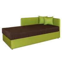 Pat dormitor Sole, o persoana, tapitat, pe stanga, cu lada, verde + maro, 80 x 190 cm, 2C
