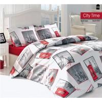 Lenjerie de pat, 2 persoane, City Time, bumbac 100%, 4 piese