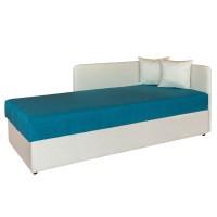 Pat dormitor Sole, o persoana, tapitat, pe stanga, cu lada, crem + albastru, 80 x 200 cm, 2C
