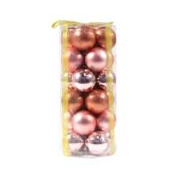 Globuri Craciun, roz, D 6 cm, set 24 bucati, SD16-26A